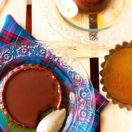 Petites crèmes chocolat, noisette, caramel