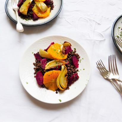 Salade lentille, fenouil, betterave, orange